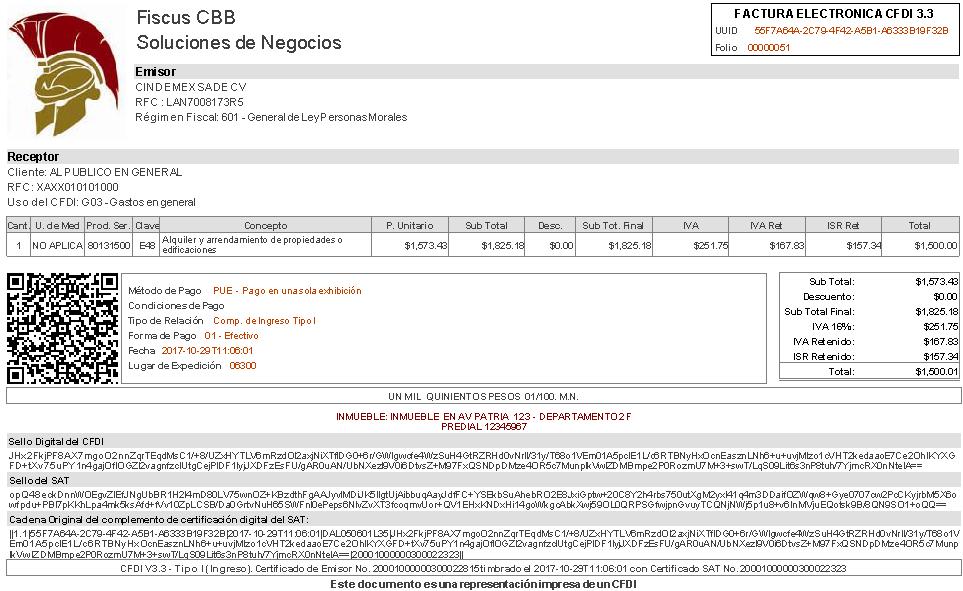 Recibos de Honorarios y Arrendamiento CFDI 3.3